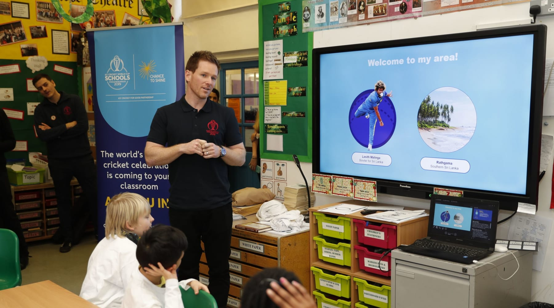 Eoin Morgan goes back to school to launch projects for the ICC Cricket World Cup Schools Programme